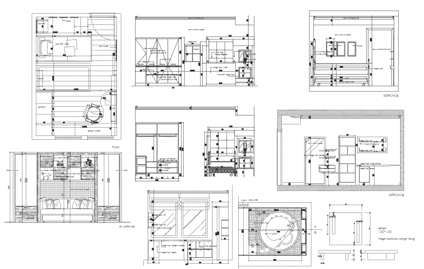 Floor plan and elevation of house in autocad file