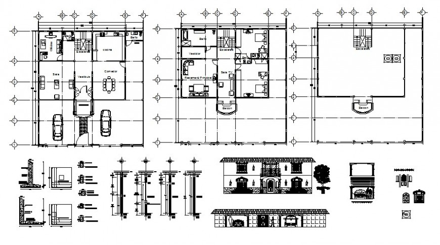Floor plan and elevation of housing area and roof plan in AutoCAD file