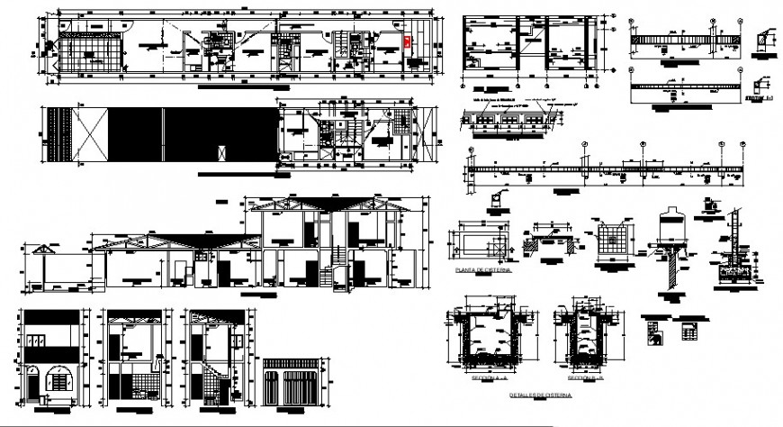 Floor plan and elevation of residential building in auto cad software