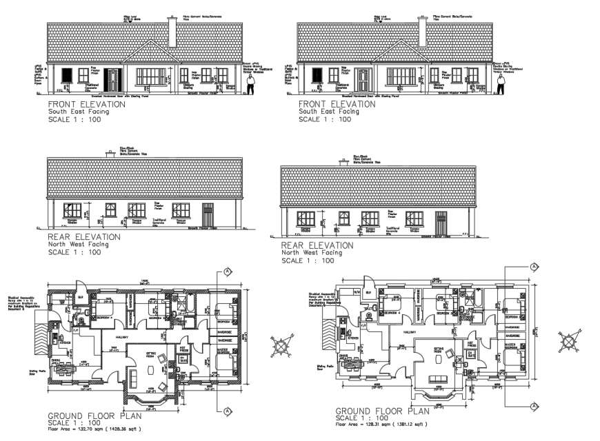 Floor plan and elevation of residential house 2d view autocad file