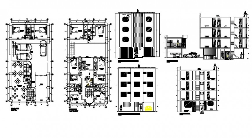 Floor plan and elevation of restaurant in auto cad