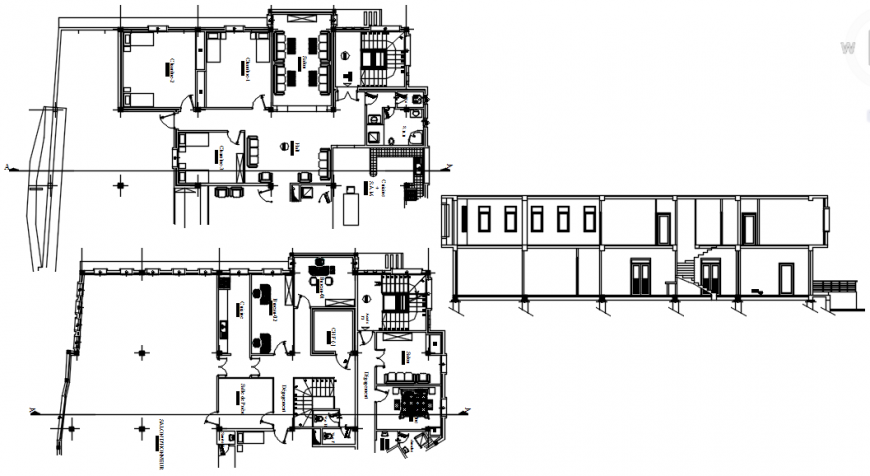 Floor plan and elevation of restaurant in auto cad software