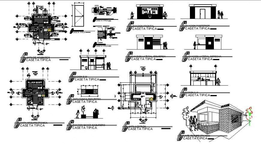 Floor plan and elevation of university in auto cad software