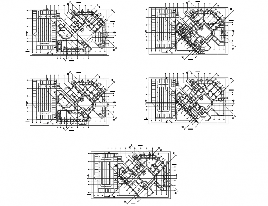 Floor plan and framing plan structure details of apartment building dwg file