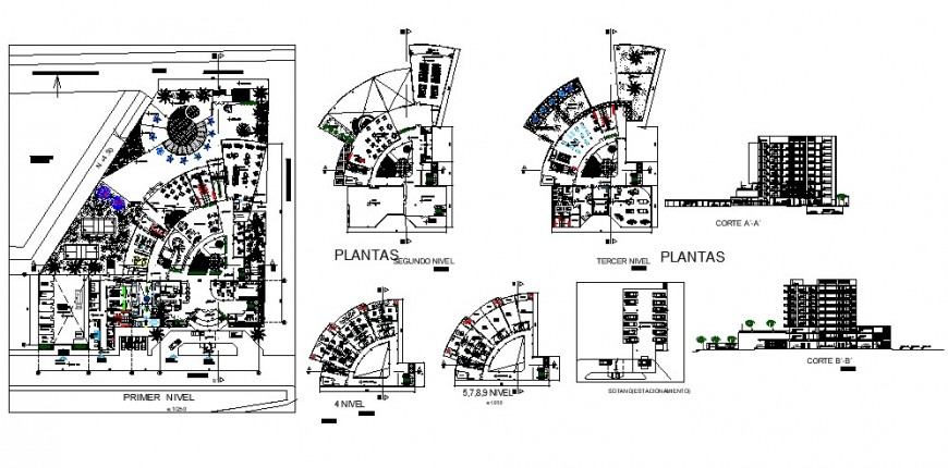 Floor plan and section view of 5 star hotels in auto cad software