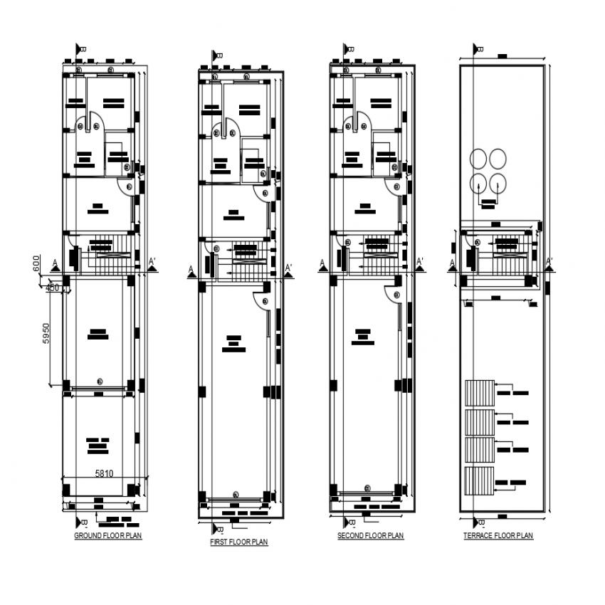 Floor plan details of multi flooring house building dwg file