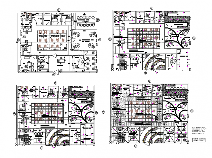 Floor plan details of office floors with electrical layout plan cad drawing details dwg file