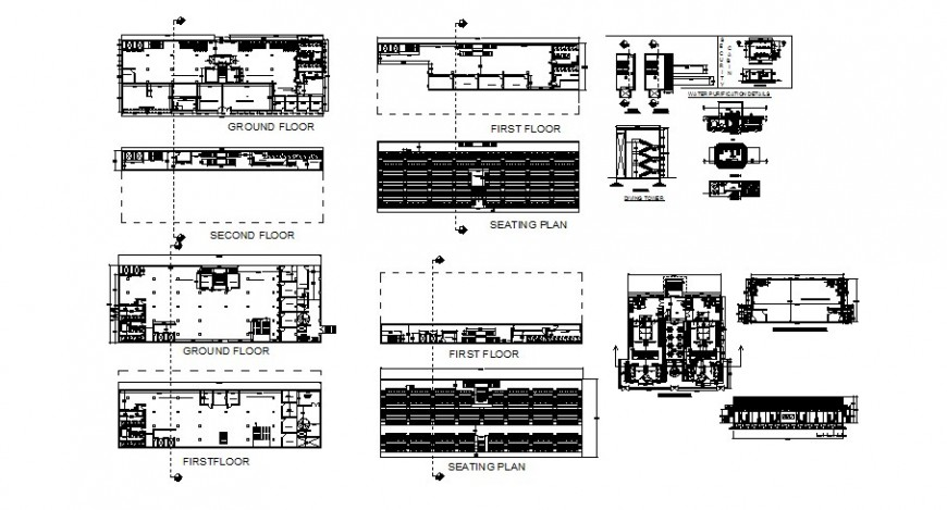 Floor plan details with seating plan and staircase of engineering college building dwg file