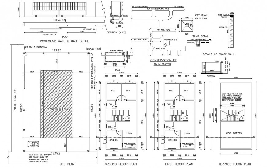 Floor plan distribution, site plan and auto-cad drawing details of house dwg file