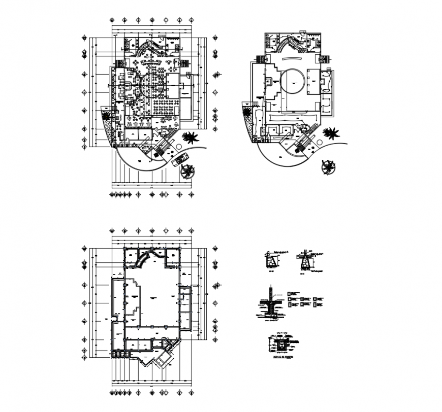 Floor plan distribution and auto-cad drawing details of restaurant with bar dwg file