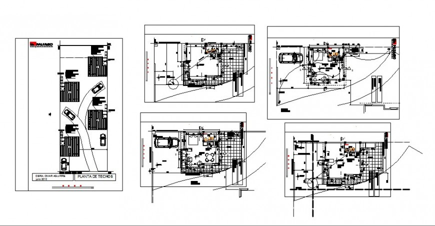 Floor plan distribution and parking floor details of one family house dwg file