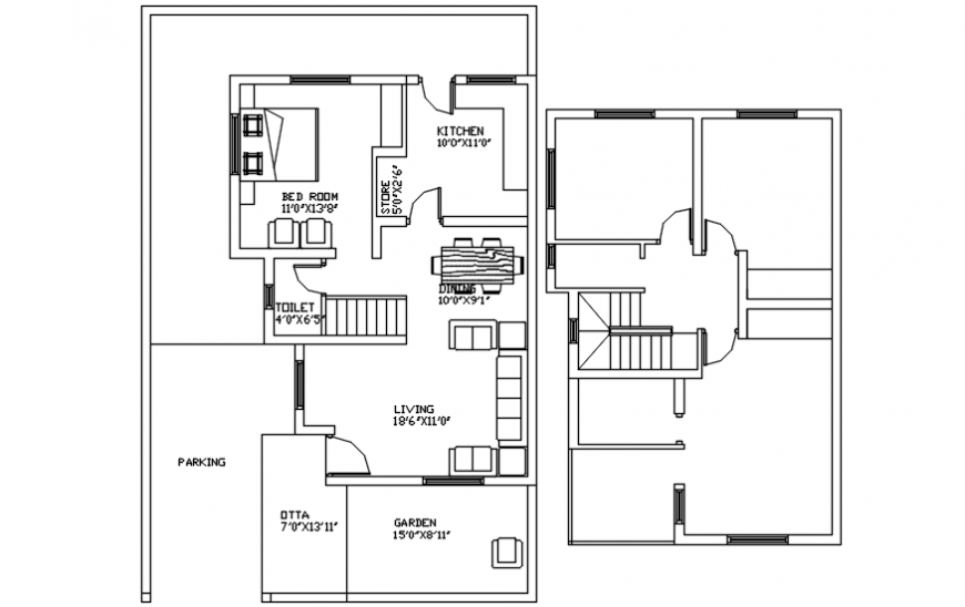 Floor plan distribution details for residential bungalow dwg file
