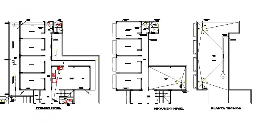 Floor plan distribution details for residential house for medical staff dwg file