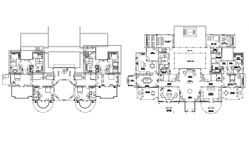 Floor plan distribution details of apartment building with furniture dwg file