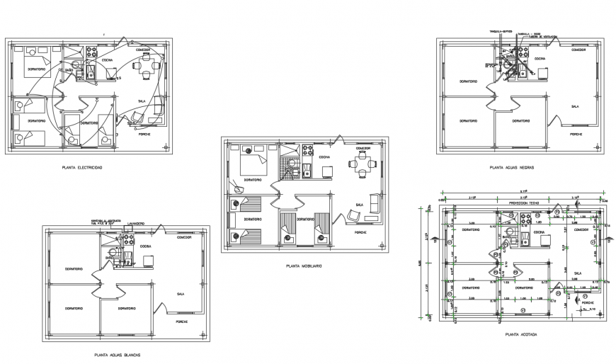 Floor plan distribution details of house with sanitary installation cad drawing details dwg file