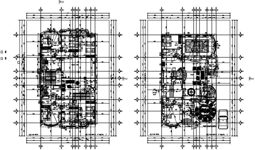 Floor plan distribution details of meky villa dwg file