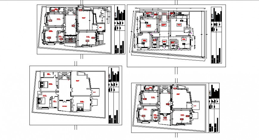 Floor plan distribution details of multi-family residential building dwg file