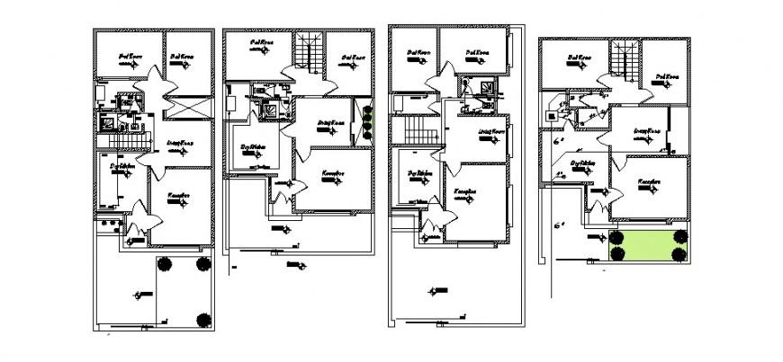 Floor plan distribution details of multi-flooring house cad drawing details dwg file