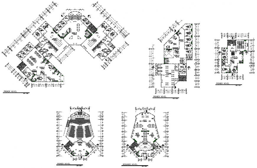 Floor plan distribution details of multi-story administration building dwg file