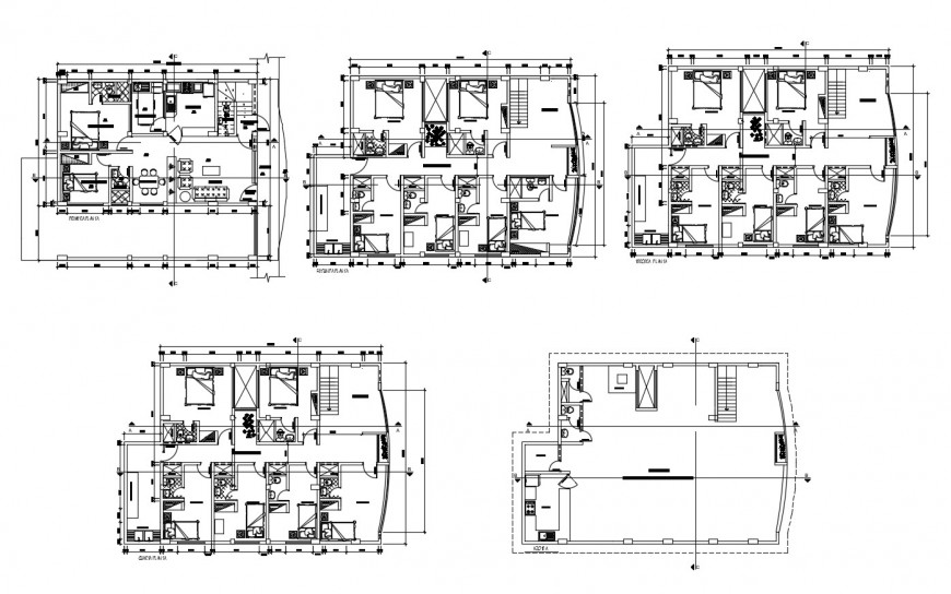 Floor plan distribution details of multi-story luxuries hotel building dwg file