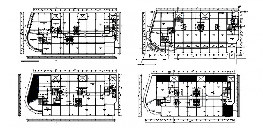 Floor plan distribution details of office and commercial building cad drawing details dwg file