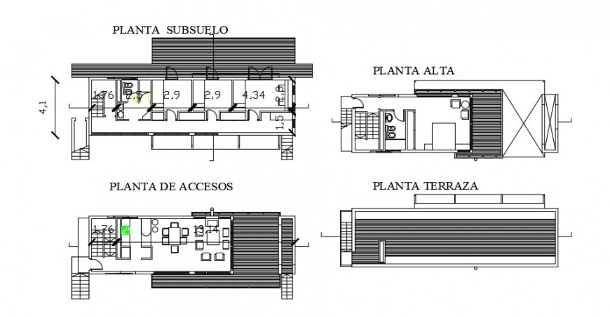 Floor plan distribution details of one family house dwg file