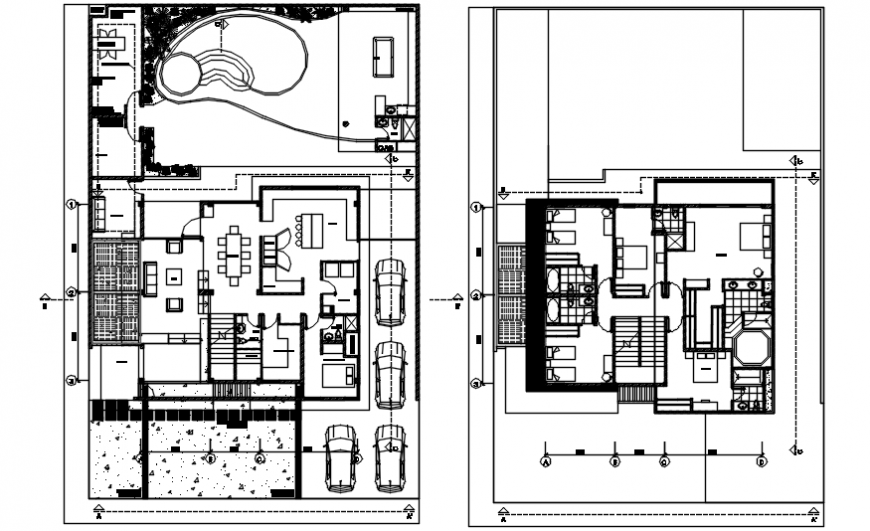 Floor plan distribution drawing details for golf clubhouse dwg file