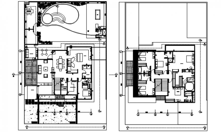 Floor plan distribution drawing details for luxuries clubhouse dwg file