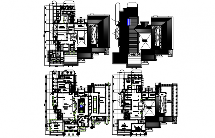 Floor plan distribution drawing details of education building with library dwg file