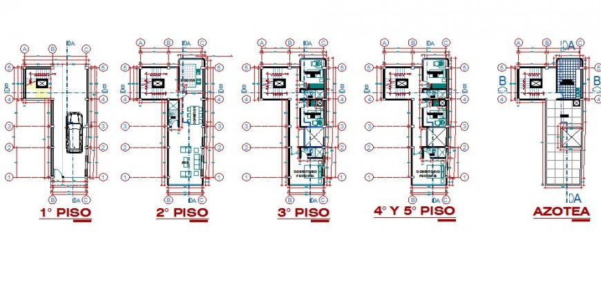 Floor plan distribution drawing details of five story apartment building dwg file