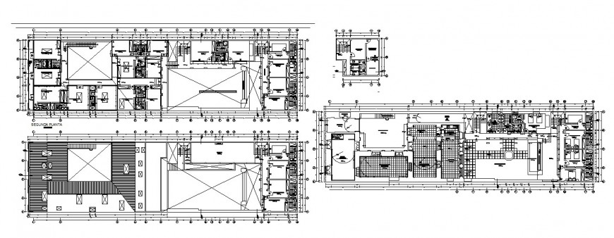 Floor plan distribution drawing details of hospital dwg file