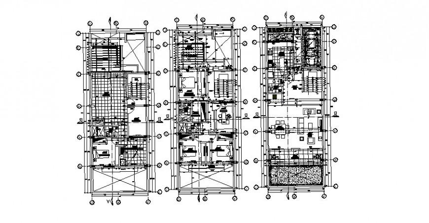 Floor plan distribution drawing details of multi-familiar building dwg file