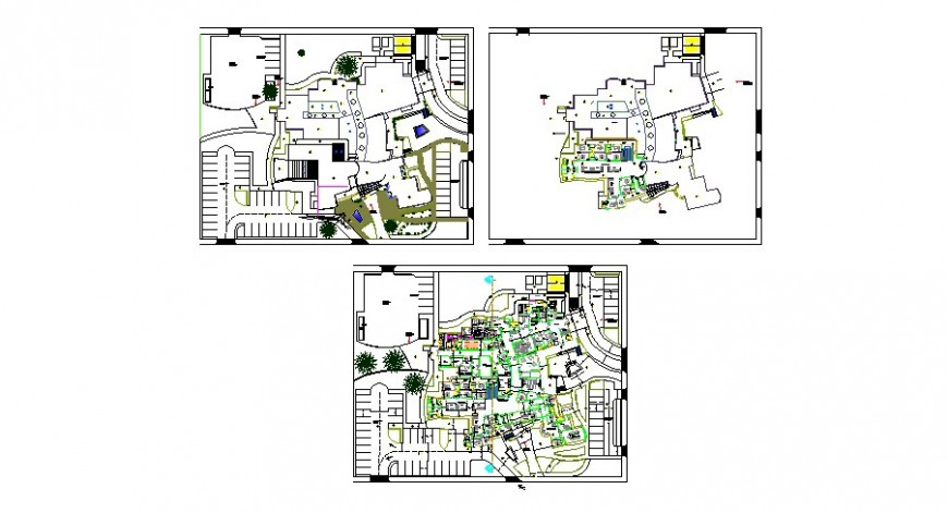Floor plan distribution drawing details of multi-story regional hospital dwg file