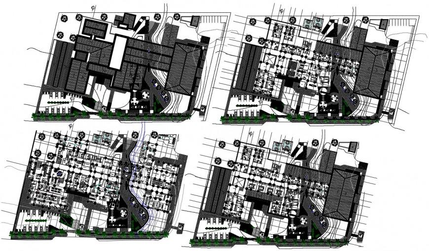 Floor plan distribution drawing details of regional hospital dwg file