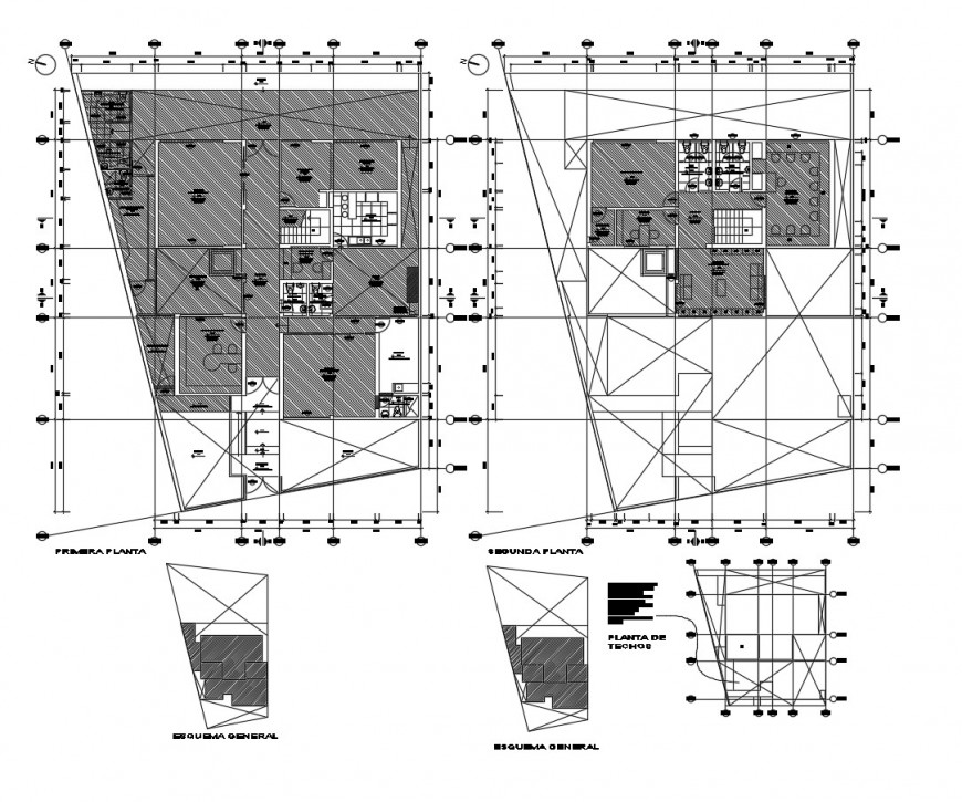 Floor plan distribution drawing details of technical institute dwg file