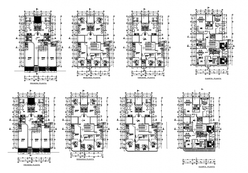 Floor plan distribution layout details of four story residential apartment building dwg file