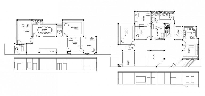 Floor plan distribution layout details of school building dwg file