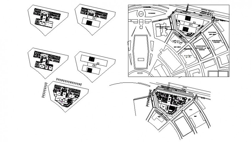 Floor plan distribution layout plan and auto-cad details of shopping mall dwg file
