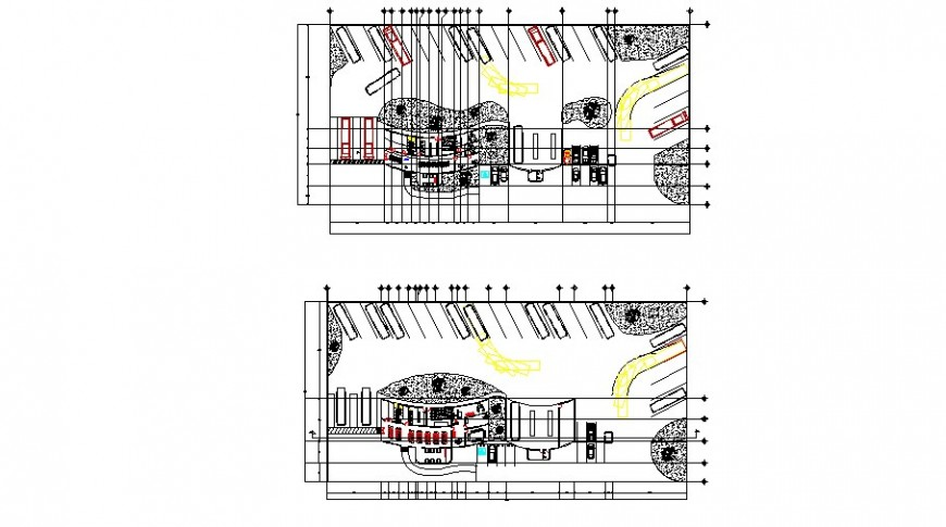 Floor plan distribution layout plan details of bus terminal cad drawing details dwg file