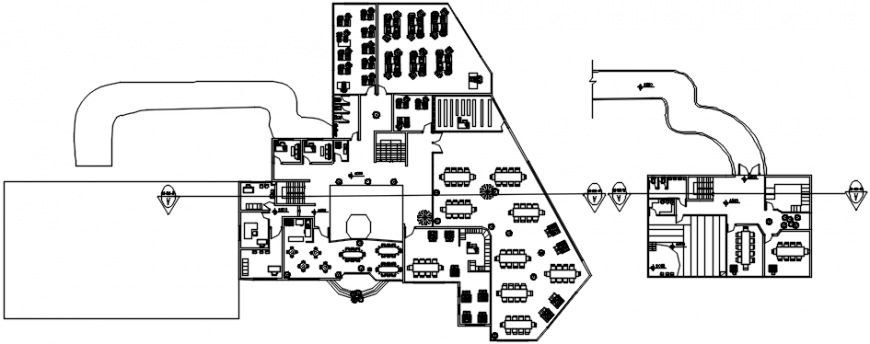 Floor plan distribution of restaurant with cafeteria details dwg file
