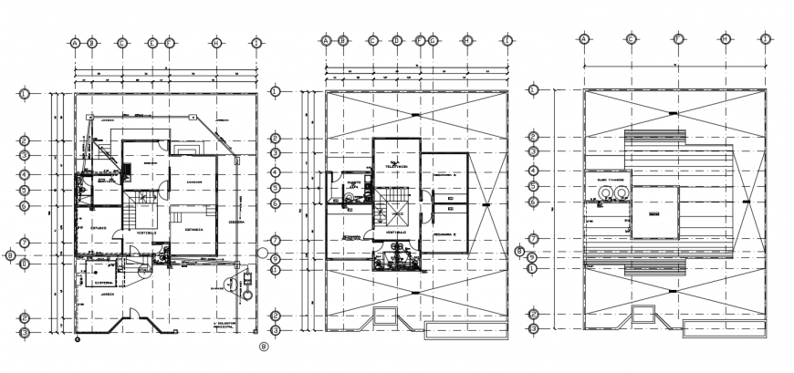 Floor plan distribution of three story residential house dwg file