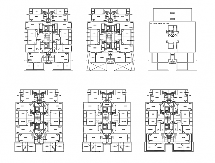 Floor plan distribution with gas installation of residential apartment building dwg file