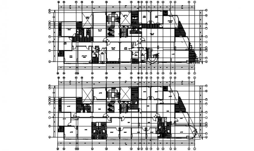Floor plan distribution with sanitary installation of residential building dwg file