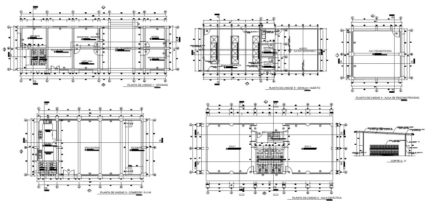 Floor plan drawing details of initial education center dwg file