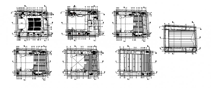 Floor plan layout and framing plan structure details of auditorium hall dwg file
