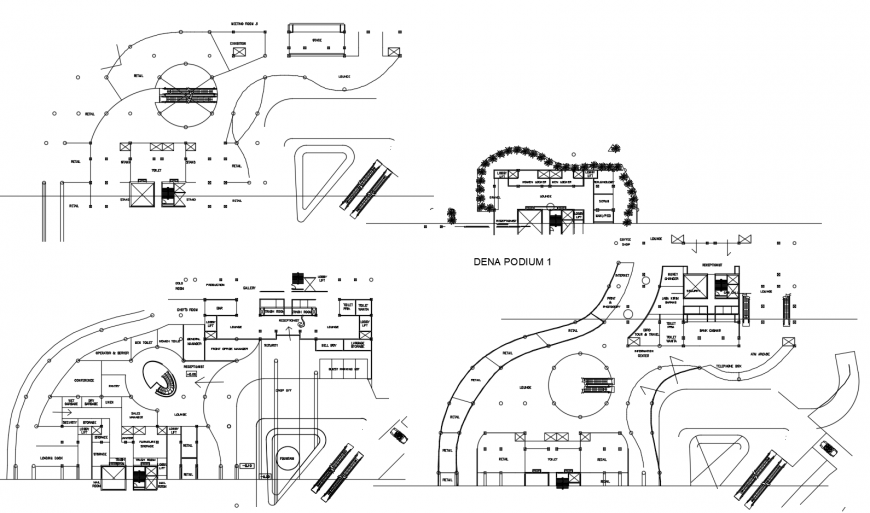 Floor plan layout details of corporate office building tower cad drawing details dwg file