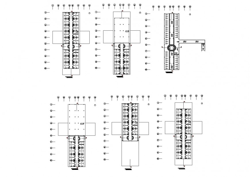 Floor plan layout details of multi-story luxuries hotel building dwg file