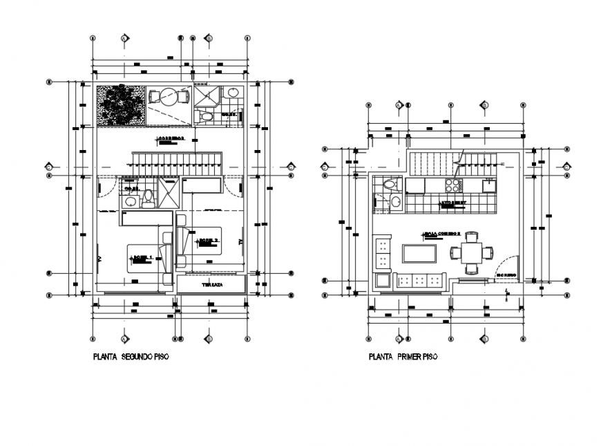 Floor plan layout details of one family house dwg file