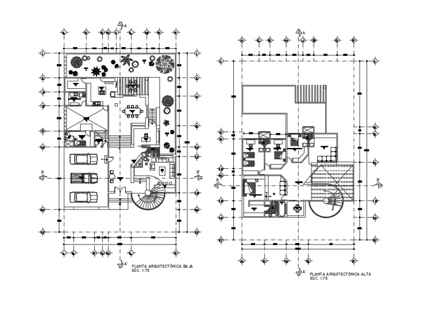 Floor plan layout details of two floors of house dwg file