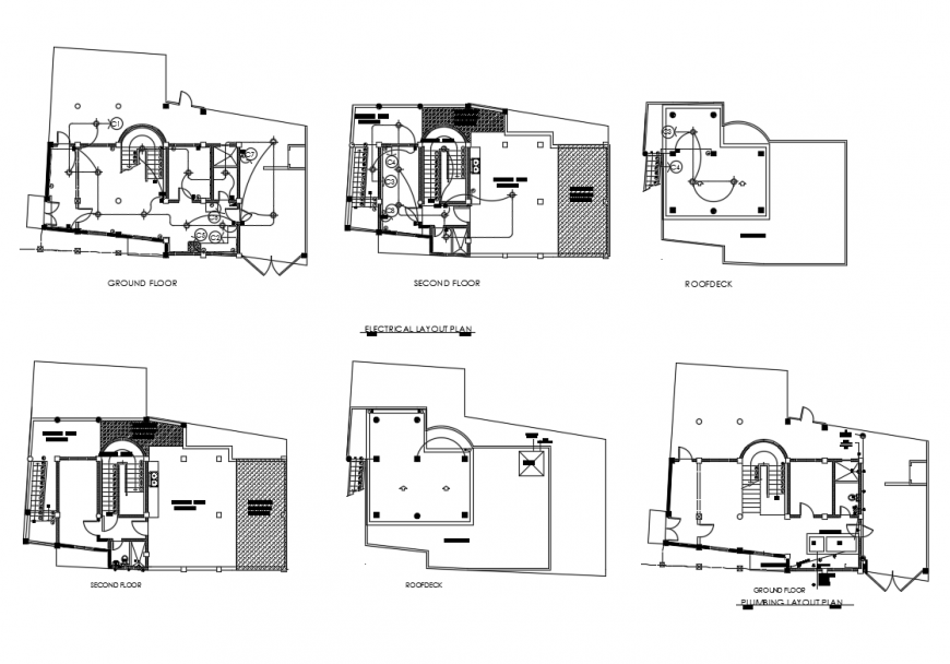 Floor plan layout details with roof deck, electrical and plumbing layout plan details of house dwg file